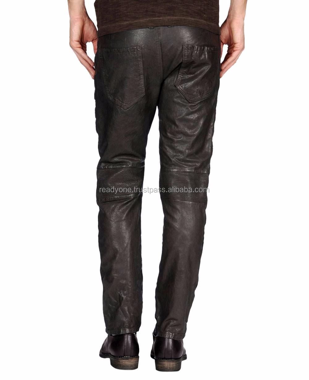 d0e99438cfccff Custom Mens Leather Pants Men Black Leather Biker Pants Sexy Leather Pants  Men Wholesale