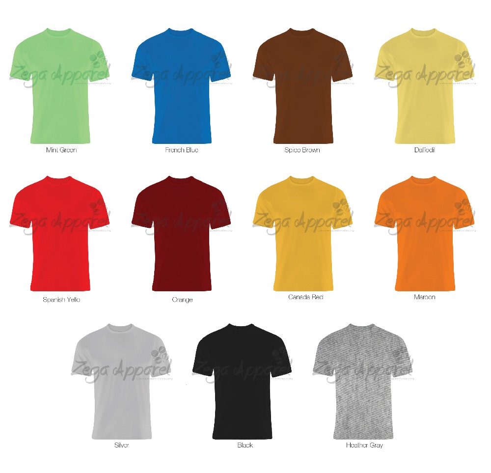 Zegaapparel customized screen printing 95% cotton 5% elastane t shirts