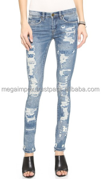 Distressed Denim Pant - Ladies/Womens Super Skinny Destoyed Ripped Jeans Distressed stretchy Jeans/slim fit Distressed denim