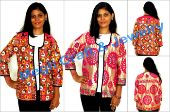 Indian handmade silk embroidered jackets-Traditional Gujarati embroidery  jacket-embroidered coats for women-