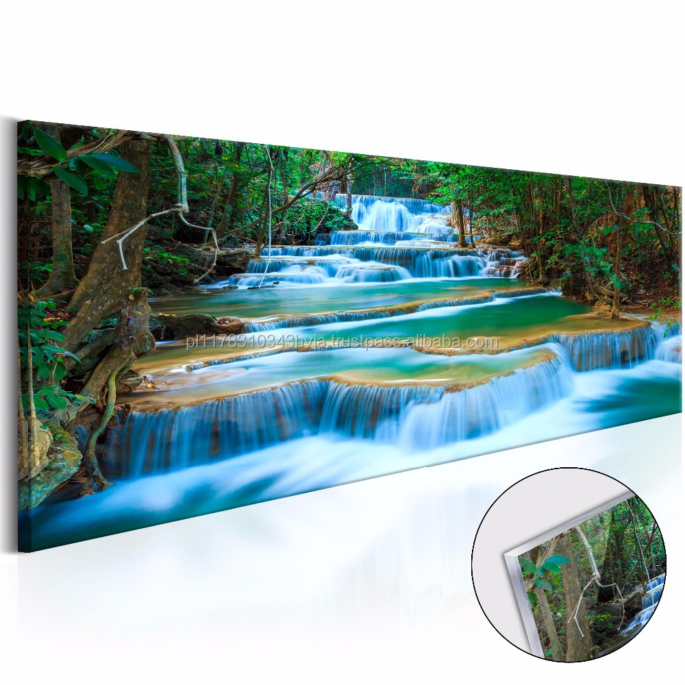 High quality acrylic 'Sapphire waterfalls' wall art designs size 120x40cm home decor