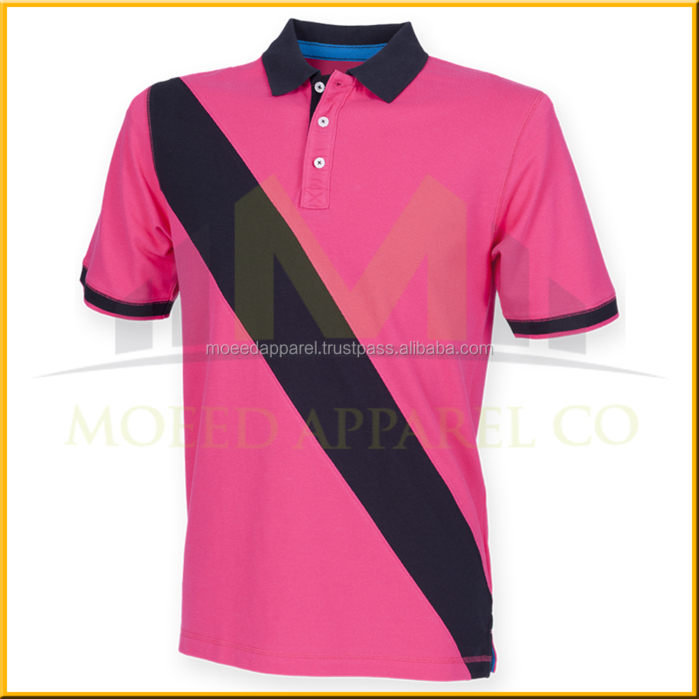 High quality custom man cut&sew diagonal panel polo shirt