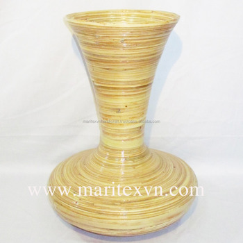 Natural Bamboo Flower Vase For Home Decoration Woven Lacquer Bamboo