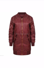 latest design jacket for men ribbing collar and cuff zip front long bomber jacket