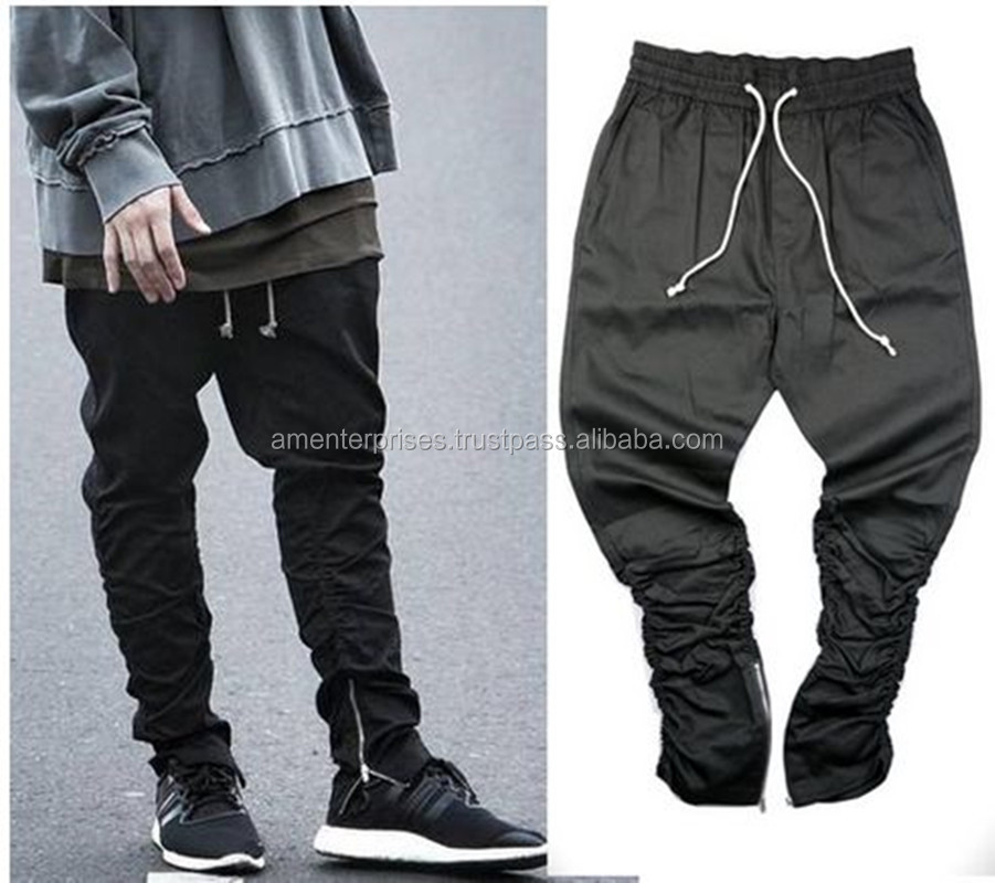 2017 Sweat pant with bottom zippers/joggers with side bottom zippers/Fleece joggers with bottom side zippers