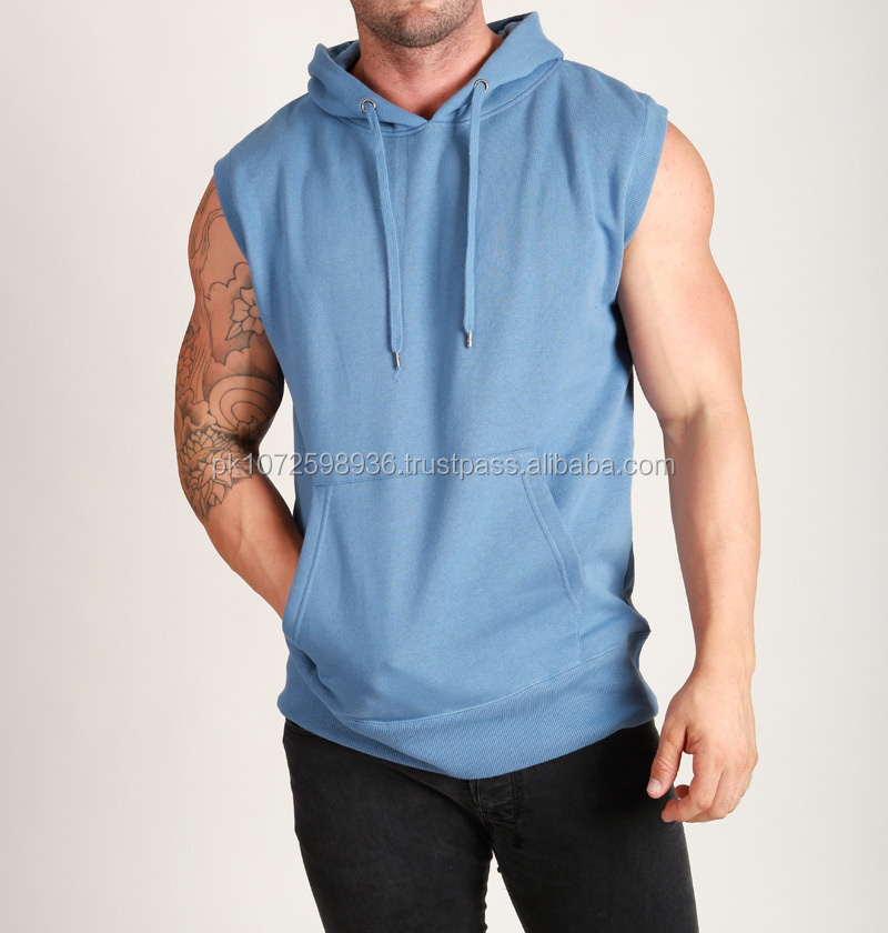 100% cotton pullover sleeveless hoodie for men
