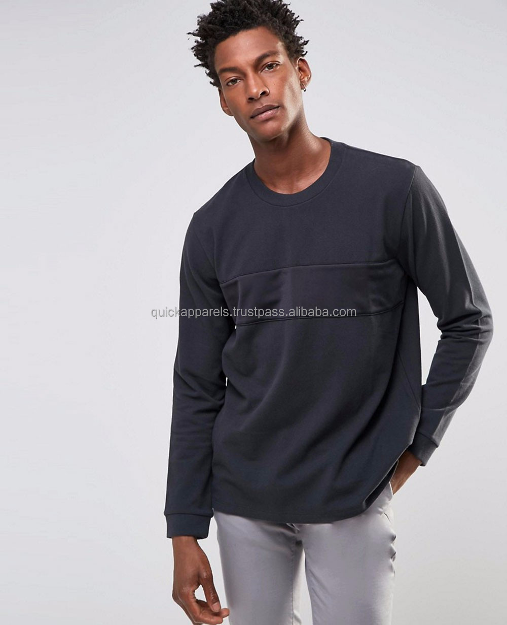 Mens cotton long sleeve t shirt with discharge print, stone wash tshirt, black color