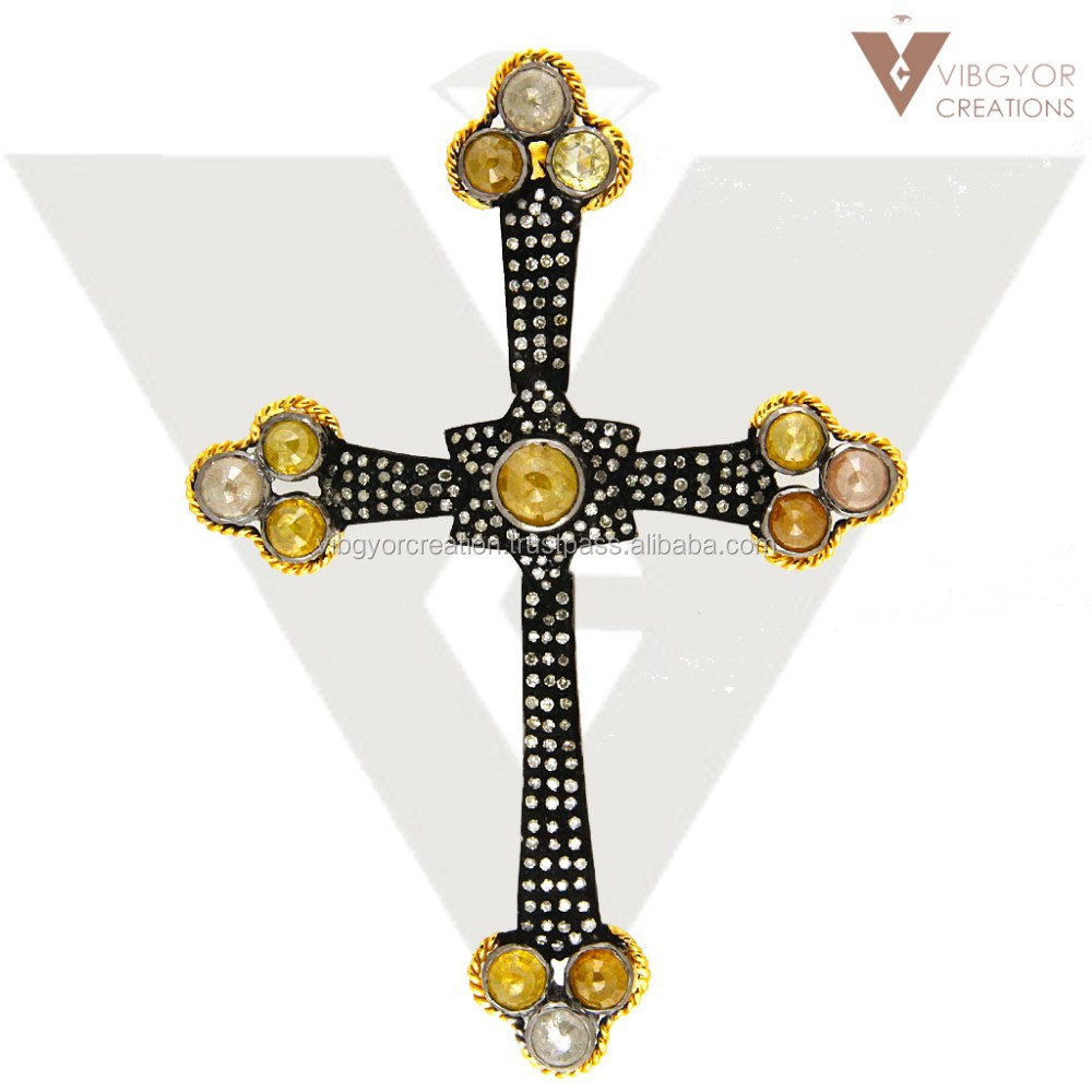 New 14k gold pave diamond 925 sterling finding cross charm pendant