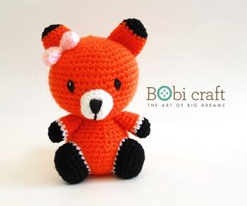 Red Fox Amigurumi Crocheted Plush Toy Cute Stuffed Animal by ... | 292x350