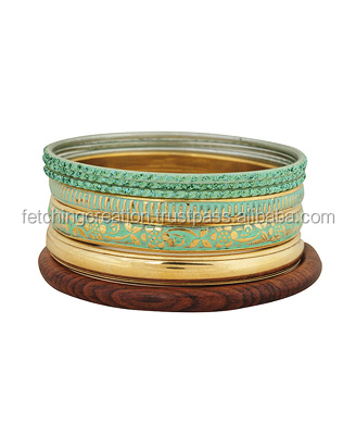 bone brass golden metal Bangle set Bracelet with wooden bangle set