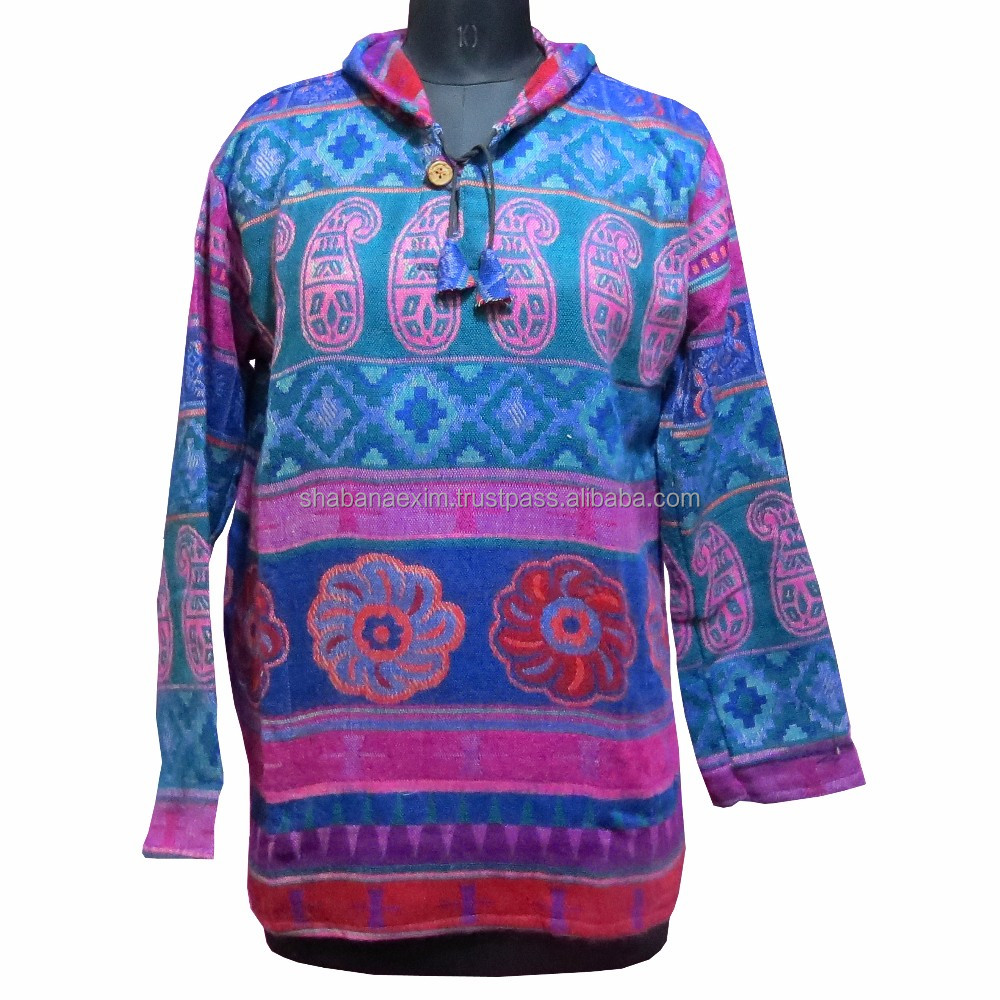 Woolen Jackets Pull over Acrylic Hoodie Ladies Warm Poncho