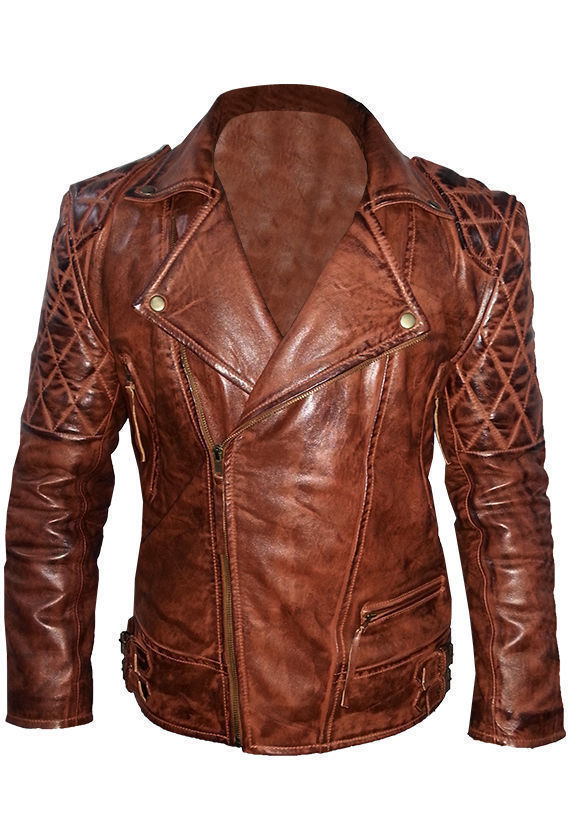 Men's Brown Leather Distressed Jacket