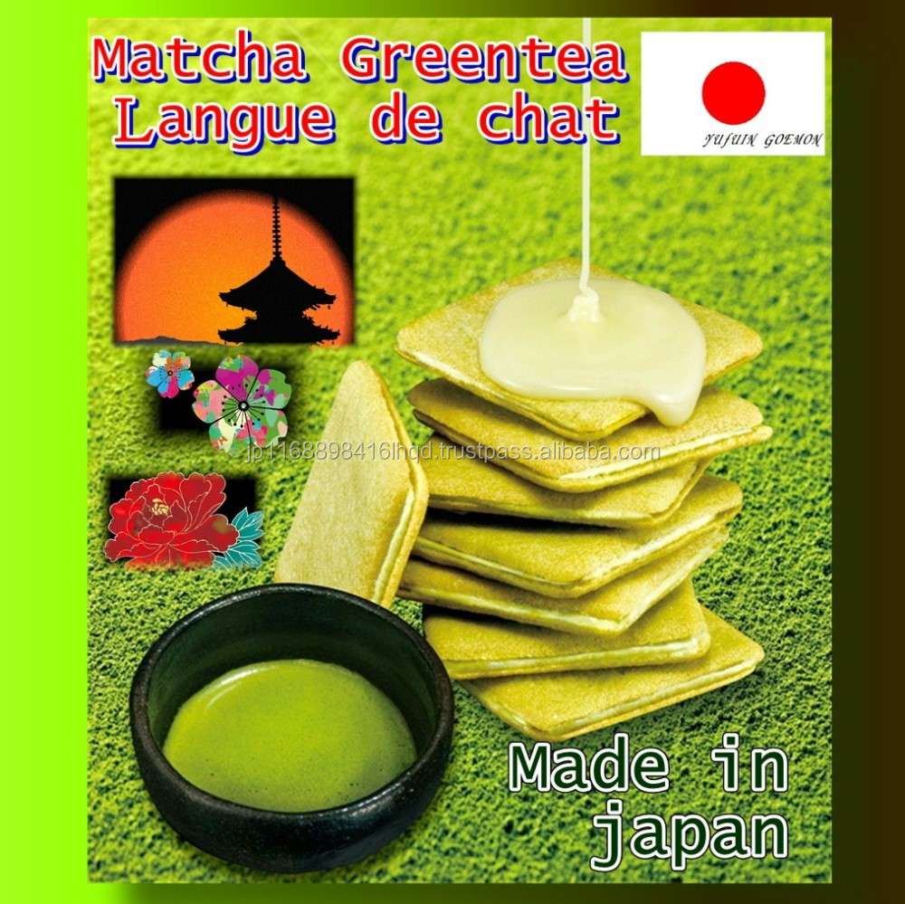 Rich gourmet matcha tea set cake from top quality ingredients with matcha cookie lang de chat
