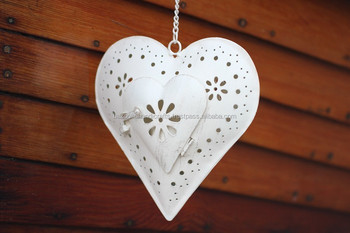 Decorative Heart Shaped Hanging Lantern White Metal Iron For Home