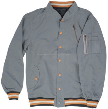 7082dbf5bda Coach varsity jacket thick fabric 100% polyester grey bomber jacket Ribbed  Collar Jersey