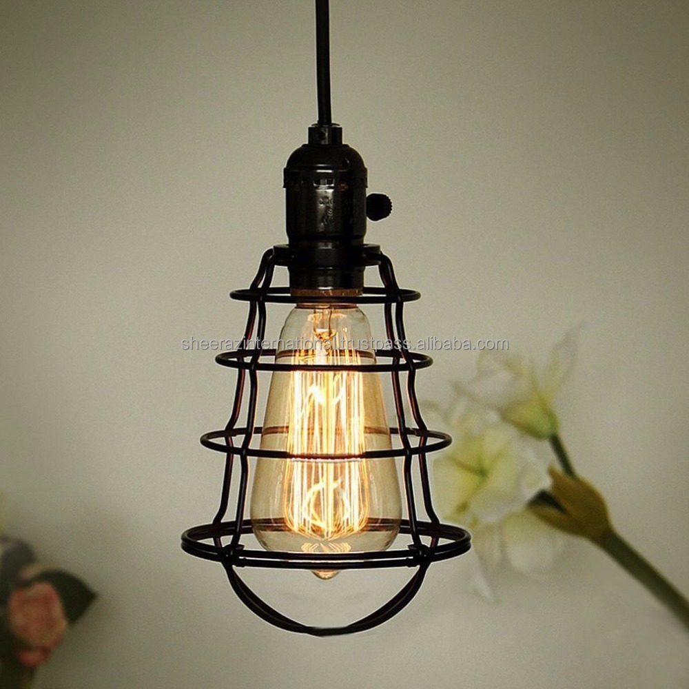 Metal Wire Mini Vintage Edison Hanging Cage Pendant Light