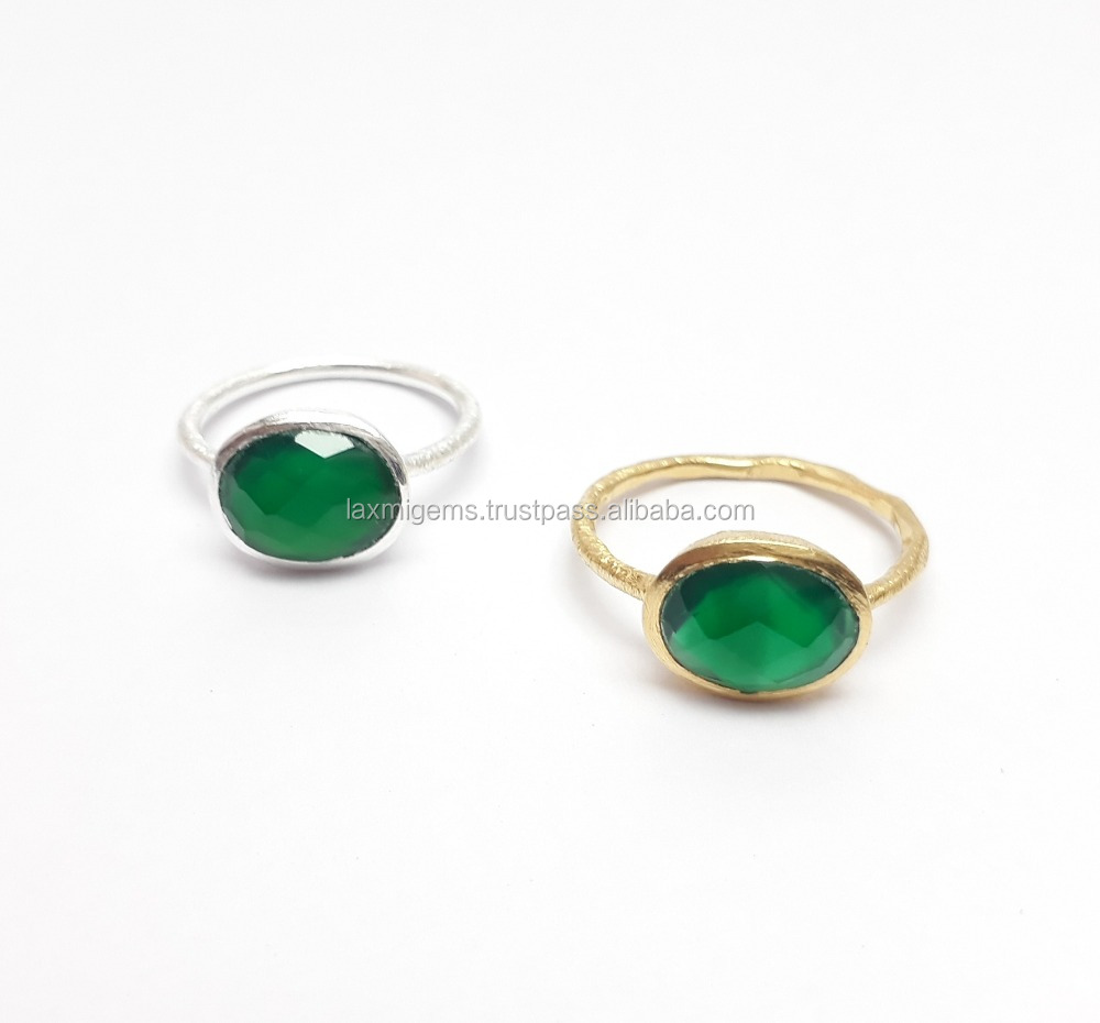 Natural Green Onyx 925 Sterling Silver Rhodium Plating Handmade Rings Jewelry, 8x10mm Oval Rings, Semi-Precious Gemstone Ring