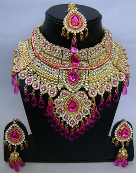 Indian Wedding Bridal Jewelry Necklace Earrings Maang Tikka Set Np