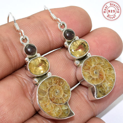 Solid 925 Sterling Silver Natural Ammonite Fossil Earring Jewellery