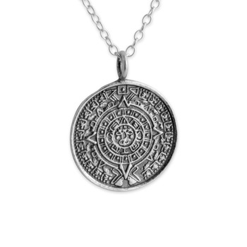 Azaggi Sterling Silver Or 14k Gold Plated Handcrafted Aztec Calendar Necklace
