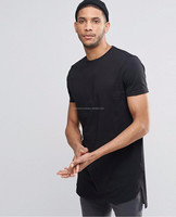 Factory price! stylish blank t-shirt Men Long Back Elongated Tee Breathable O-Neck Knitted Gym Man Quick Dry T-Shirt Manufacture