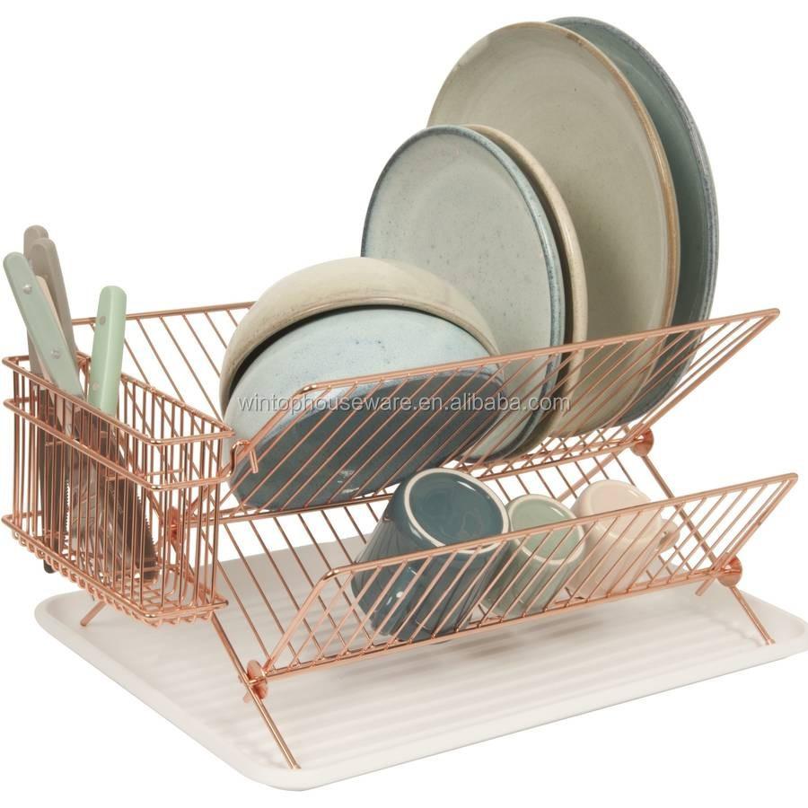 X Shape Dish Rack Copper Plated Dish Holder Folding Dish
