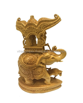 Exclusive Wholesale Ethnic Wooden Handicraft Hand Carved Ambawari Design Oval Base Elephant Home Decor Gift Item