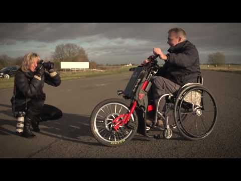 Electric Power Trike wheel chair Stuart Dunne of Cyclone Mobility test the Batec trike 2014