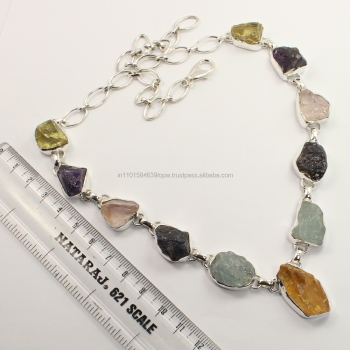 Natural MULTI-COLOR Rough Gemstones Fabulous Necklace 925 Solid Sterling Silver Manufacturer
