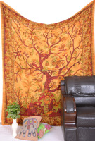 Yellow TREE OF LIFE Wall Hanging Indian Mandala Tapestry bedspread queen size