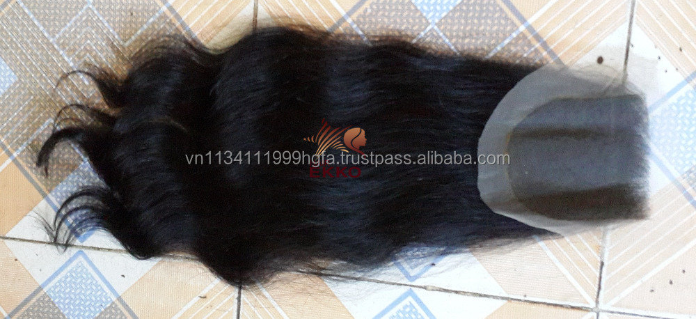 Nov 2016 Vietnamese human hair lace closure 100g/piece black color body wavy hair 20 inches no chemical treatement