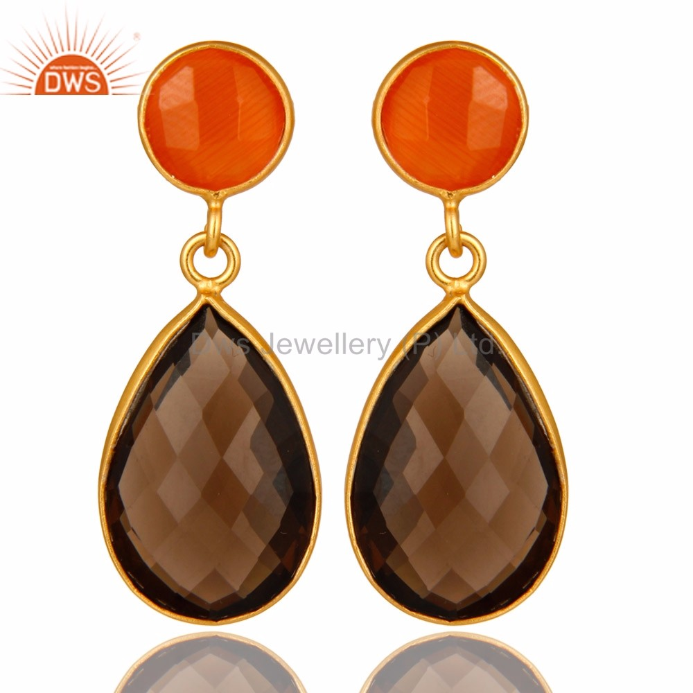 Handmade 925 Silver Moonstone & Smoky Quartz Gemstone Earring Manufacturer of Jaipur Silver Jewelry