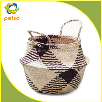 Wholesale Large Foldab Seagrass Belly Basket
