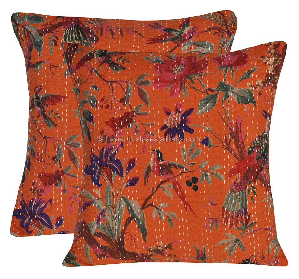 Indian Floral Printed Orange Color Cotton Kantha Cushion Cover