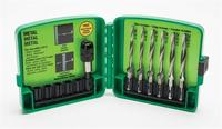 Greenlee 00909, LDTAPKIT 8-32 to 1/4-20, 6-Piece Long Drill/Tap Bit Kit with Quick-Change Adapter