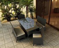 New Design 2015 - 5 Pieces Patio Bench Dining Set Ploy Rattan Furniture/ Outdoor Furninture