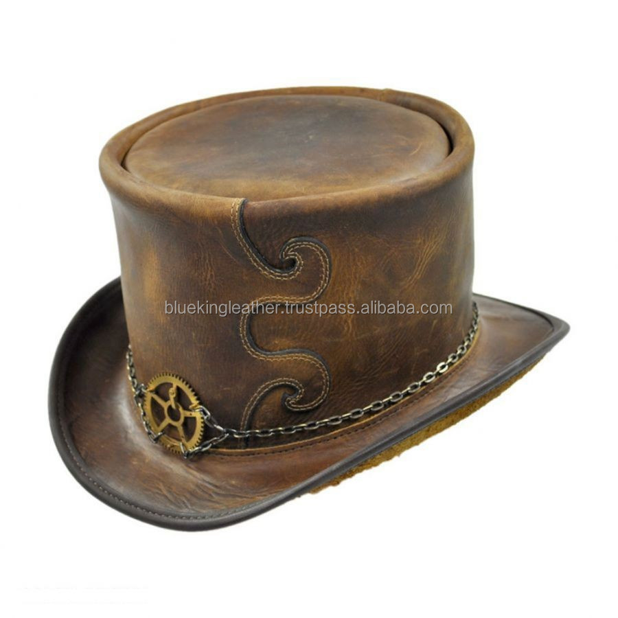 "2 TONES PULL-UP CRAZY HORSE COWHIDE LEATHER ""STEAMPUNK"" TOP HAT"