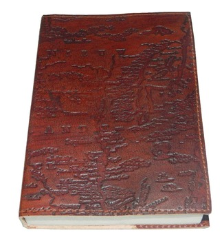 Handmade leather journal exclusive world map pattern embossed off handmade leather journal exclusive world map pattern embossed off white handmade papers gumiabroncs Image collections