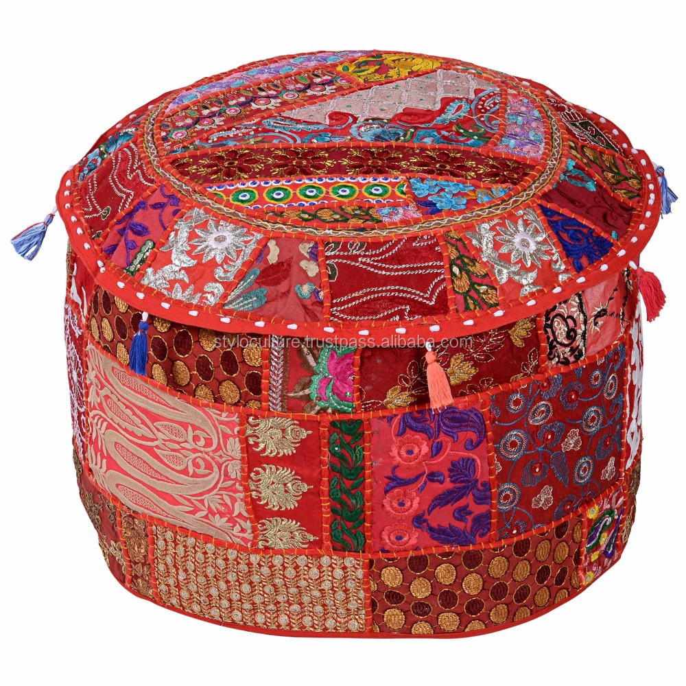 Patchwork Cotton Ottoman Pouf Cover Embroidery Floor Cushion Decor Art Ethnic Seating Ottoman Covers Footstool
