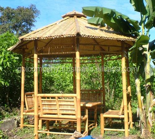 En gros bambou tiki bar cabane naturel bambus bar tiki - Salon de jardin couvert ...