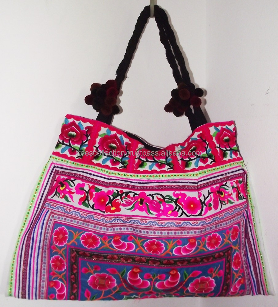 HMONG Hill Tribe Hand Bag Tote Bag - Embroidered bag Thailand