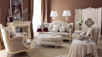 Antique White Sofa Set Luxury Wooden