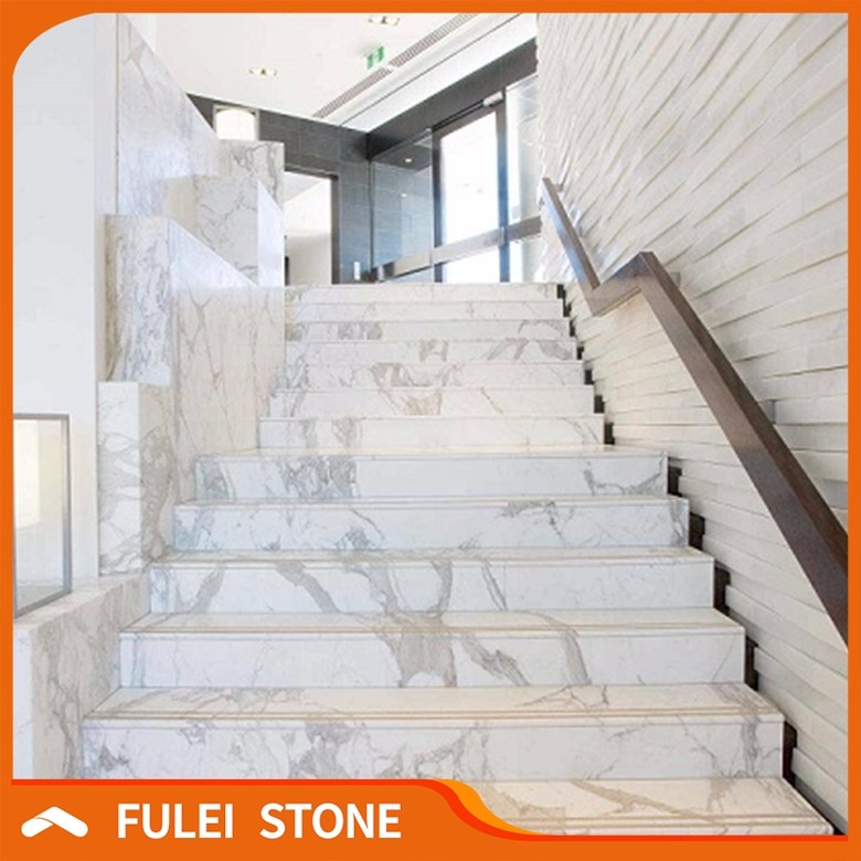 Indoor Customized White Marble Staircase Designs For Marble