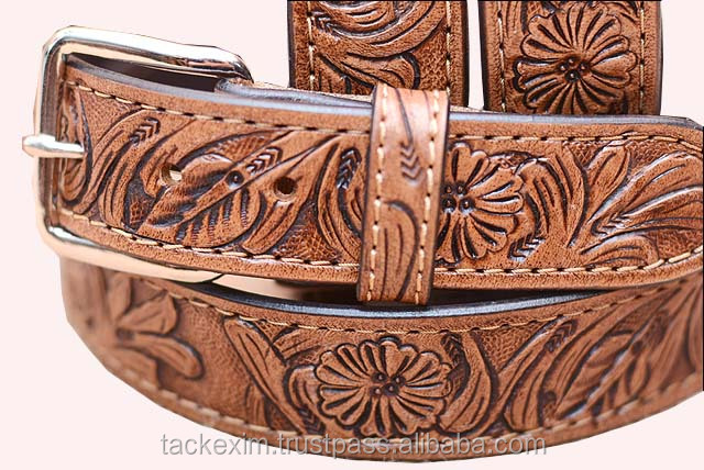 HAND MADE HEAVY DUTY HIDE LEATHER STITCHED and CARVING BELT
