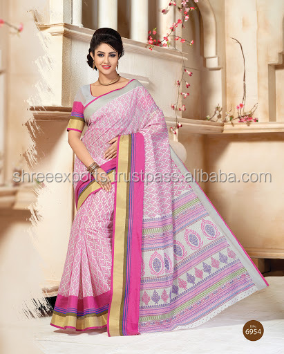 Off White Cotton Silk Saree Part Wear