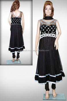 dab755f721 Velvet Indian Embroidery Net Readymade Anarkali Salwar Kameez-Party wear  Black Net Anarkali Suit-