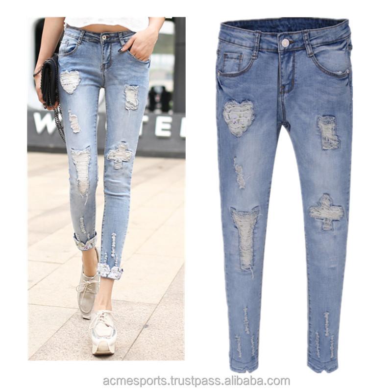 Womens Skinny Plain Denim Jeans Ladies Slim Fitted Pocket Stretchy Pants Trouser