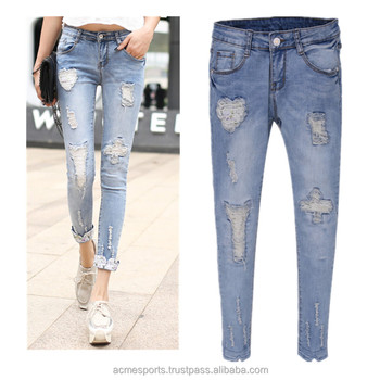 Distressed denim jeans pants - Ladies Womens Super Skinny Destoyed Ripped  Jeans Distressed stretchy Jeans 6eb3d2bb93