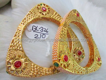 1078689b3 Bollywood style gold plated bangles kada set- Antique traditional Indian  gold plated bangles - south