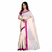 Beige Party Wear South Indian Banarasi Silk Saree Online Shopping In Surat